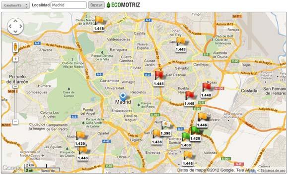 Buscador gasolineras baratas widget Ecomotriz.com