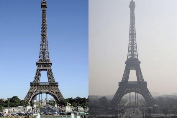 París con y sin polución